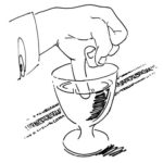 line drawing of person dipping their pinkie into a wine glass