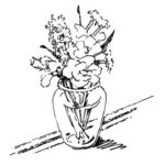 line drawing of spring flowers for the Seder table